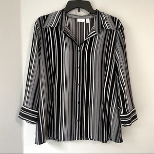 Apt. 9 Stretch Basic Black &White Business Casual Button Down Blouse Shirt Large